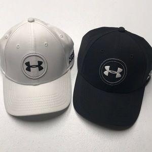 UNDER ARMOUR GOLF Men's Black White Baseball Hats